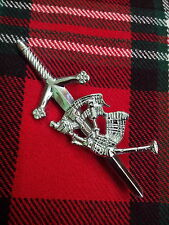 CORNAMUSA SCOZZESE delle Highland PIPER Spilla per kilt / finitura cromata/PIN