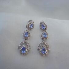 2.75ct Tanzanite & Diamond Drop Earrings