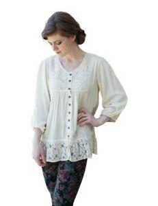Victorian Trading Co NWOT April Cornell Emmaline Blouse Ivory Lace Tunic SM 39B
