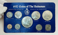 1970 BAHAMAS UK Queen Elizabeth II Large Genuine 9 Coin Set 4 are Silver i76393