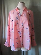 Roamans Pink Floral Polyester Georgette Sheer Blouse Big Shirt New $39.99 20W 1X