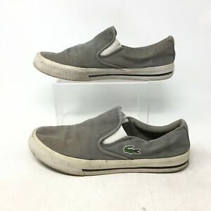 Lacoste Lynden Casual Slip On Shoes Skateboarding Sneakers Canvas Grey Mens 7
