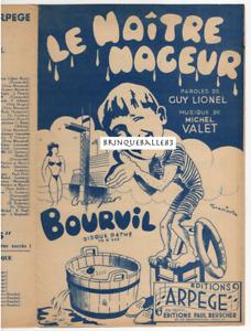 BOURVIL PARTITION LE MAÎTRE-NAGEUR GUY LIONEL MICHEL VALET 1949 GRASSIANT GUITAR