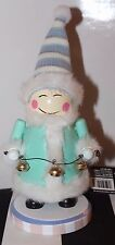 New Eskimo Wooden Green Fur Nutcracker Bells Toque Chinky Eyes Christmas Decor