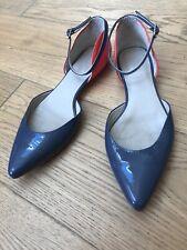 Ladies Boden Shoes Flats Blue Orange Strappy 41 UK 8