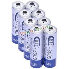8 Pc 2a Aa 3000mah Ni-mh 1.2 v Batería Recargable Bty Azul LR6 Celular Um3