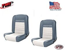 Deluxe PONY Seat Upholstery  Ford Mustang, Front Bucket Seats - Blue & White
