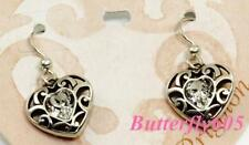 Brighton Sofi Heart Clear French Wire Earrings NWT $36