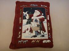 Free Shipping! Santa & Animals Christmas Pillow - Gold Metallic Threads - Red
