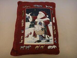 Free Shipping!  Santa & Animals Christmas Pillow - Gold Metallic Threads - Red