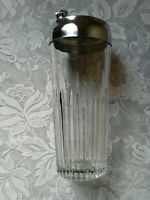 Vintage Retro Barware Heavy Cut Glass Martini Cocktail Bar Shaker with Metal Top