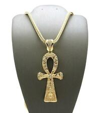 "KING TUT GOLD ANKH CROSS SYMBOL OF LIFE PENDANT w/ 4mm 36"" FRANCO CHAIN NECKLACE"