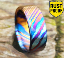 Flat Timascus Handmade Men engagement Ring Titanium Damascus Wedding Mens Band