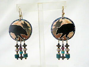 Hand Crafted Hand Painted Pierced Earrings Wolf Wolves '90's