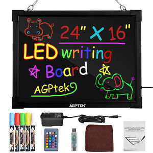 """24""""×16"""" LED Message Board Illuminated Erasable Writing Drawing Remote Control"""