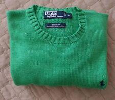 POLO Ralph Lauren men's size L green cotton sweater crew-neck style