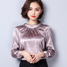 Ladies Satin Silk Shirt Vintage Pleated Long Sleeve Shiny Blouse Pullover Pink