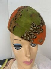 Vintage Orange Green Feather Hat Bamberger's Albrizio Dress Costume Party Diva