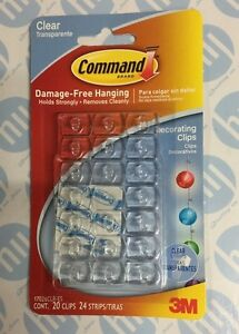 Command 20 Clear Self Adhesive Sticky Hooks / Hang Christmas Lights