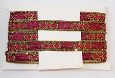pink Gold Bead Jewel Sequin Indian wedding cake dance costume ribbon rhinestone