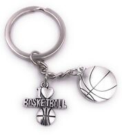 Basketball i Love Basketball Llavero Colgante Plata de Metal