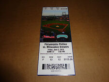 PHILLIES 2016 TICKET STUB DIAMOND CLUB VS BREWERS 6/3/16~Jacob Barnes MLB DEBUT