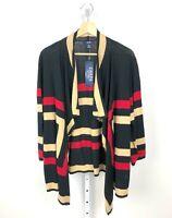 NWT CHAPS Drape Open Front Cardigan Sweater Linen Cotton Black Red Tan 1X Plus
