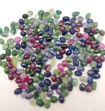 Natural Emerald Ruby Blue Sapphire Oval Cabochon Lot 102 Pcs 6*7-6*11 MM 200 CT