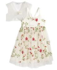 BONNIE JEAN® Little Girls 6X Ivory Floral Embroidered Dress & Shrug NWT $74