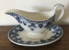 Rare Antique Flow Blue Villeroy Boch Wallerfangen with Underplate circa 1890s