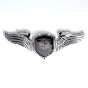 Chrome Cadillac Car Front Hood Stand Ornament Wing Emblem for Escalade CTS SRX