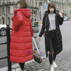 Women Long Puffer Coat Jacket Hooded Padded Quilted Outerwear Winter Warm Black