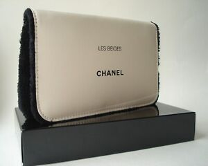 CHANEL  Beaute VIP gift  beige  makeup  pouch trousse  clutch with mirror