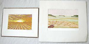 "2 color Abstract Aquatint prints, ""Landscape"" signed: ""Hannah"", 1985, 1991"