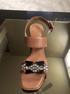 NWB Tory Burch Delaney Embellished Double Strap Sandals Brown 8.5M MSRP $348