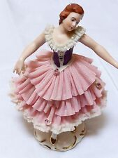 Antique Dresden Porcelain Lace Figurine