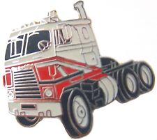 Hat pin Tie tack lapel pin semi truck white & red painted metal stud mount