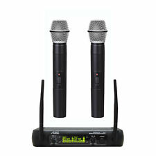 Audio2000'S AWM6074U UHF, DUAL WIRELESS HANDHELD MICROPHONE SYSTEM-MR
