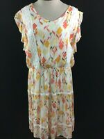 NEW Lauren Conrad dress sleeveless Size XL lace ruffle floral pink yellow