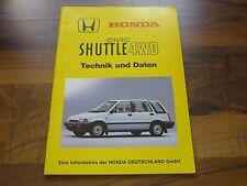 Honda CIVIC SHUTTLE 4WD Technik und Daten Kundendienstschule WERKSTATT HANDBUCH