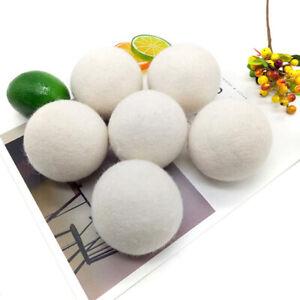 6PCS Wool Tumble Dryer Balls 6cm Natural Reusable Laundry Clean Practical Home
