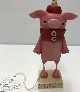 Original One Of A Kind Hand Formed Clay Christmas Whimsical Pig- Janell Berryman