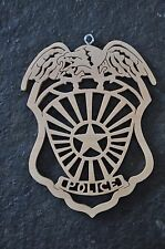 Police Man Cop Law Enforcement Wood Toy Christmas Ornament Gift Tag New USA