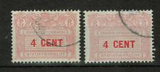 Netherlands - 4 CENT - Statistiekrecht, LION, Revenue Two Stamps #3460