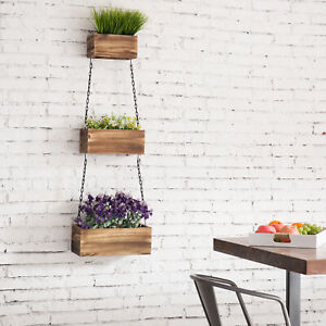 MyGift 3 Tier Wall Hanging Rustic Wood Planter Boxes with Black Metal Chains