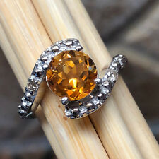 Natural 2ct Golden Citrine, White Diamond 925 Sterling Silver Engagement Ring 8