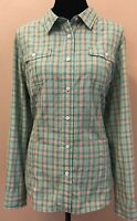 Duluth Trading Co. Womens Button Down Long Sleeve Blouse Size XL Green Plaid