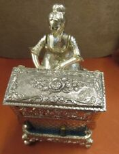 Mechanical Victorian Lady Woman Piano Musical Jewelry Trinket Box Japan