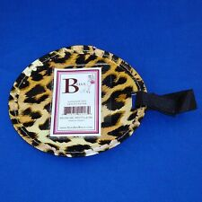 Bella - Luggage Tag - Leopard Print - Large Circle - Reusable Plastic - NEW