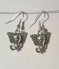 Dangle earrings - elephant head, Tibetan silver style